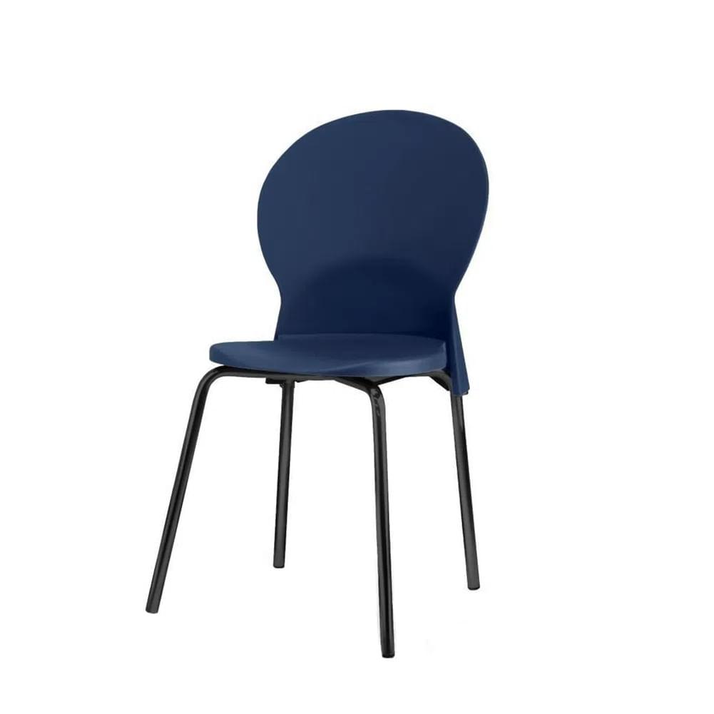 Kit 5 Cadeiras Luna Assento Azul Base Preta - 57694