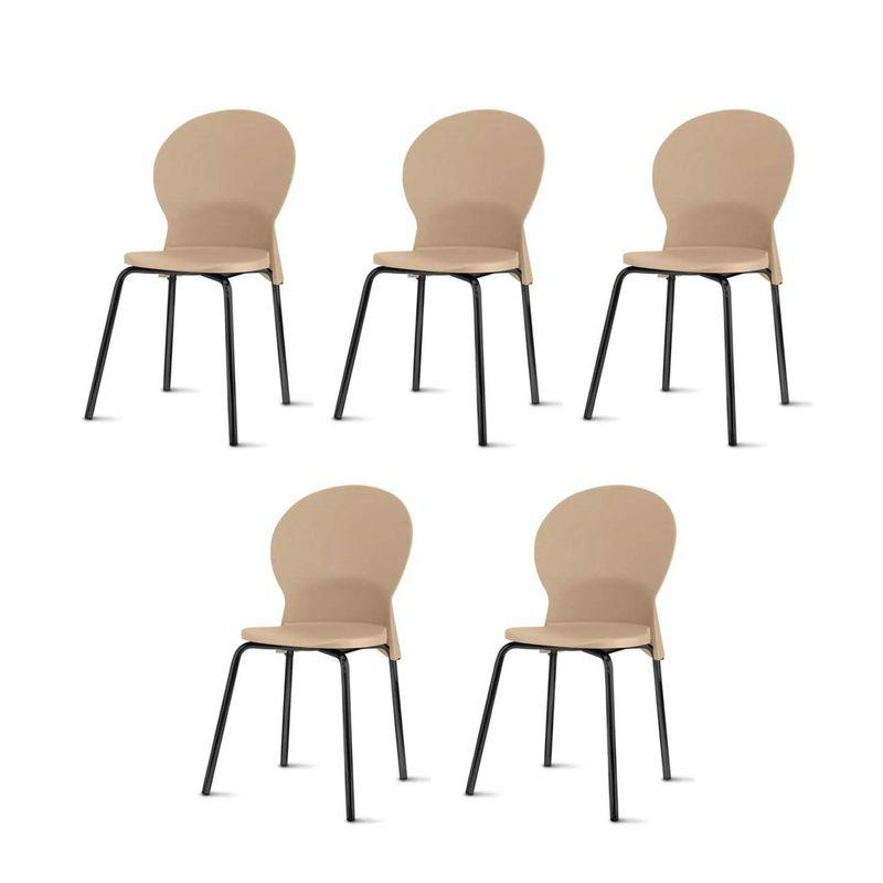 Kit-5-Cadeiras-Luna-Assento-Bege-Base-Preta---57695-