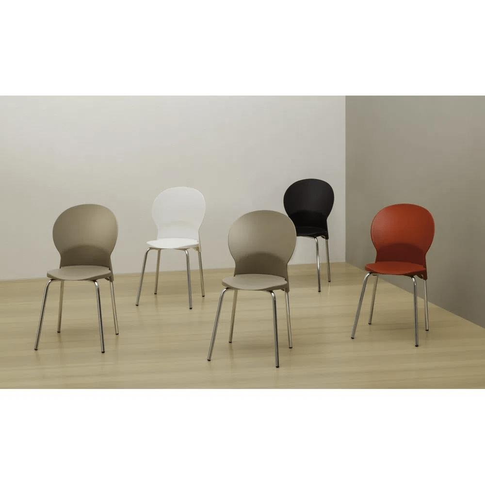 Kit 5 Cadeiras Luna Assento Bege Base Preta - 57695