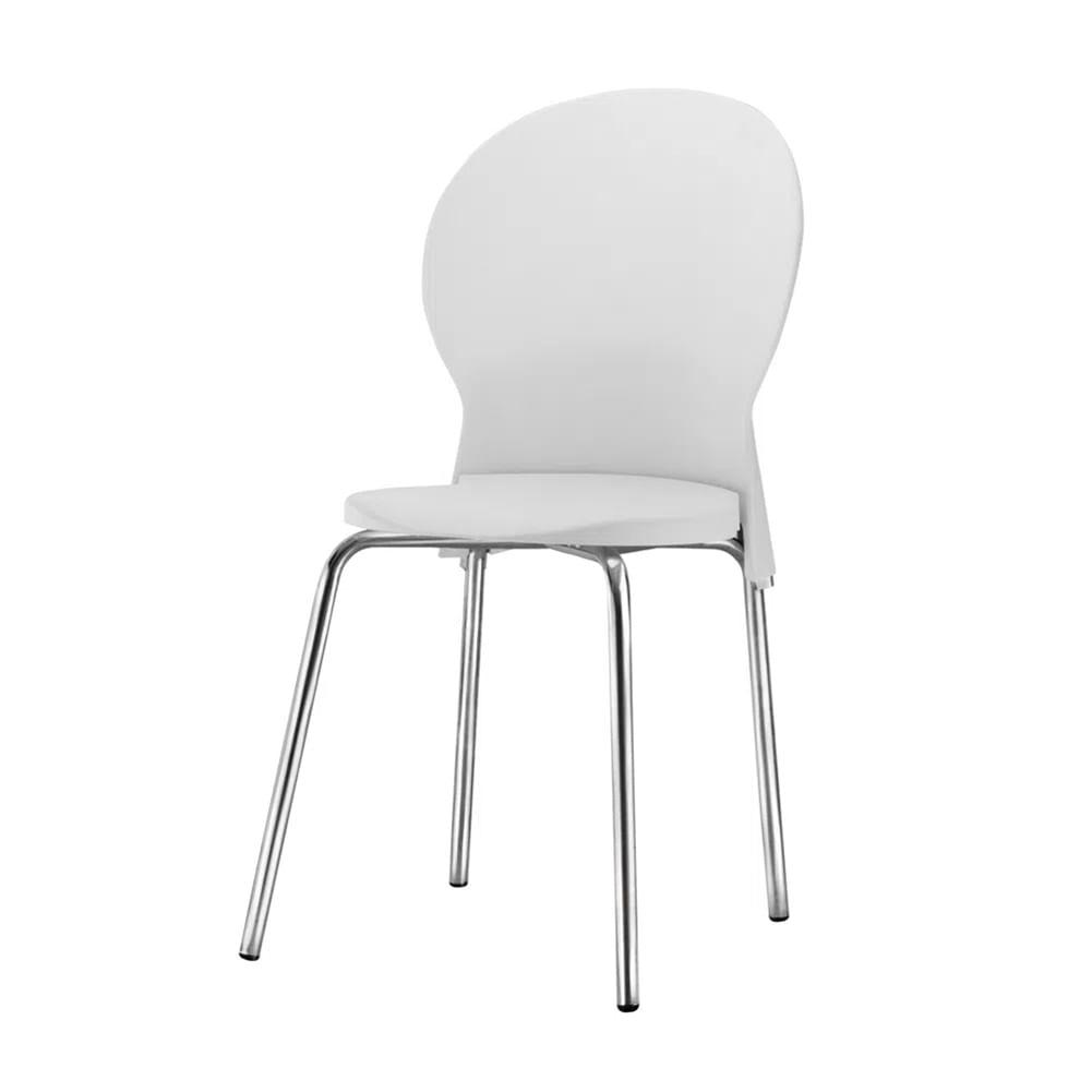 Kit 5 Cadeiras Luna Assento Branco Base Cromada - 57697