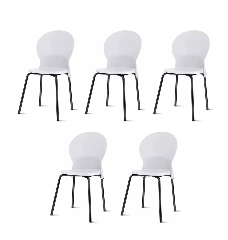 Kit 5 Cadeiras Luna Assento Branco Base Preta - 57698