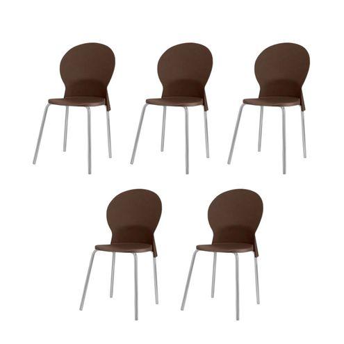 Kit-5-Cadeiras-Luna-Assento-Marrom-Base-Cinza---57701