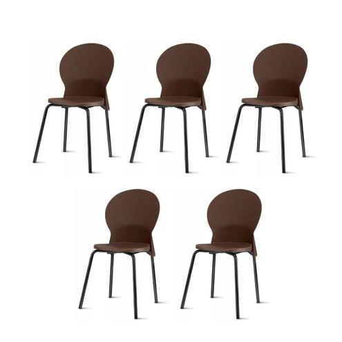 Kit-5-Cadeiras-Luna-Assento-Marrom-Base-Preta---57702