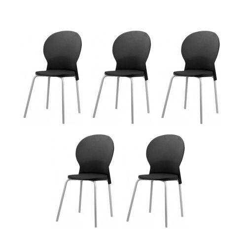 Kit-5-Cadeiras-Luna-Assento-Preto-Base-Cinza---57703