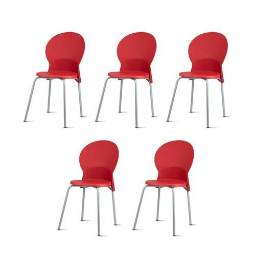 Kit-5-Cadeiras-Luna-Assento-Vermelho-Base-Cinza---57706