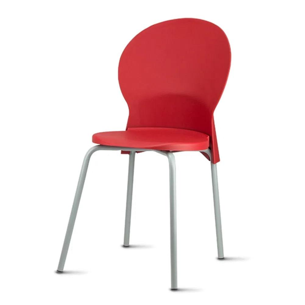 Kit 5 Cadeiras Luna Assento Vermelho Base Cinza - 57706