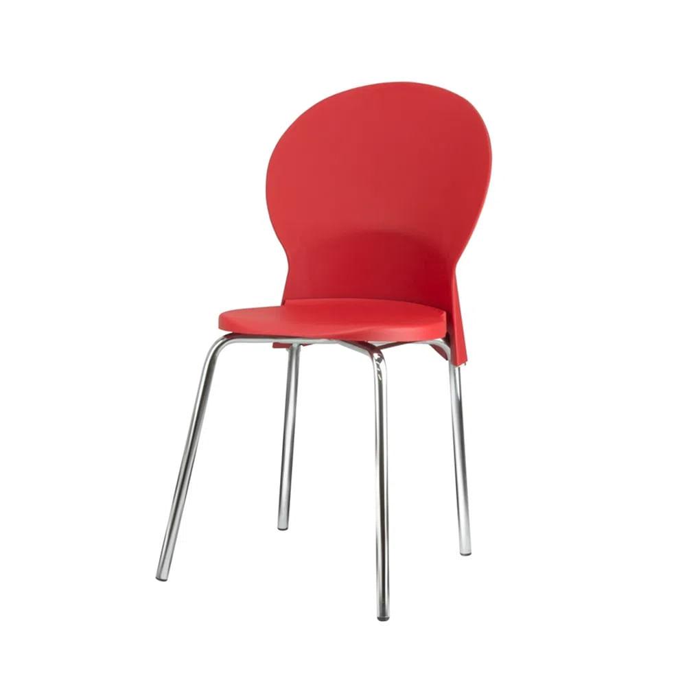 Kit 5 Cadeiras Luna Assento Vermelho Base Cromada - 57707
