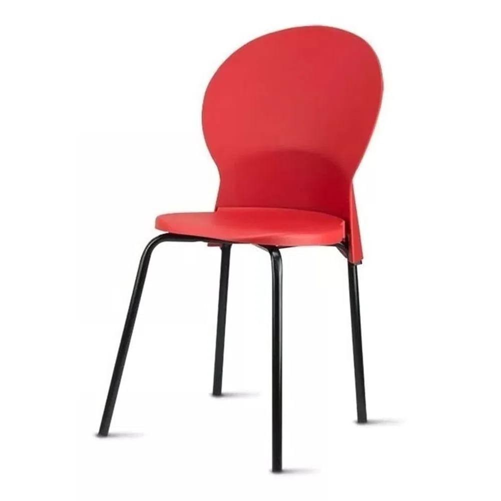 Kit 5 Cadeiras Luna Assento Vermelho Base Preta - 57708