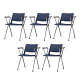 Kit-5-Cadeiras-Up-com-Bracos-Assento-Azul-Base-Fixa-Cromada---57805