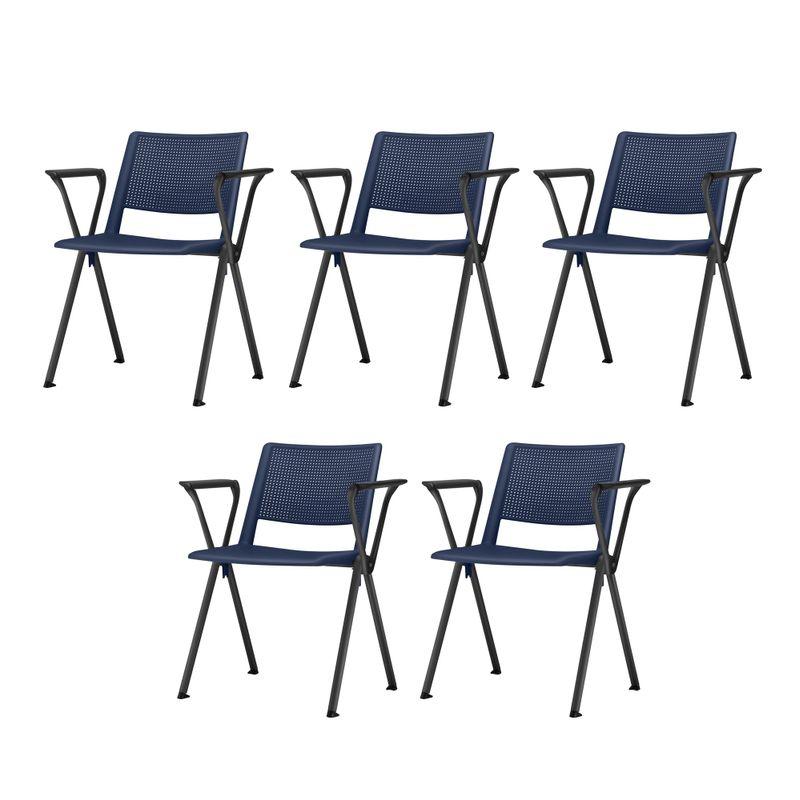 Kit-5-Cadeiras-Up-com-Bracos-Assento-Azul-Base-Fixa-Preta---57806