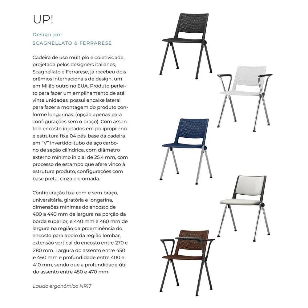 Kit 5 Cadeiras Up com Bracos Assento Azul Base Fixa Preta - 57806