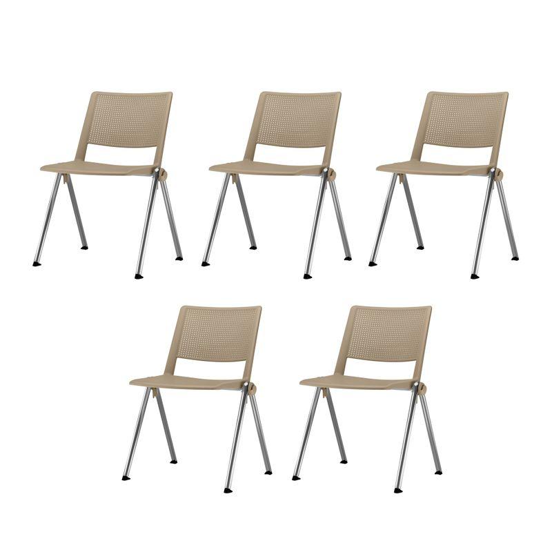 Kit-5-Cadeiras-Up-Assento-Bege-Base-Fixa-Cromada---57808