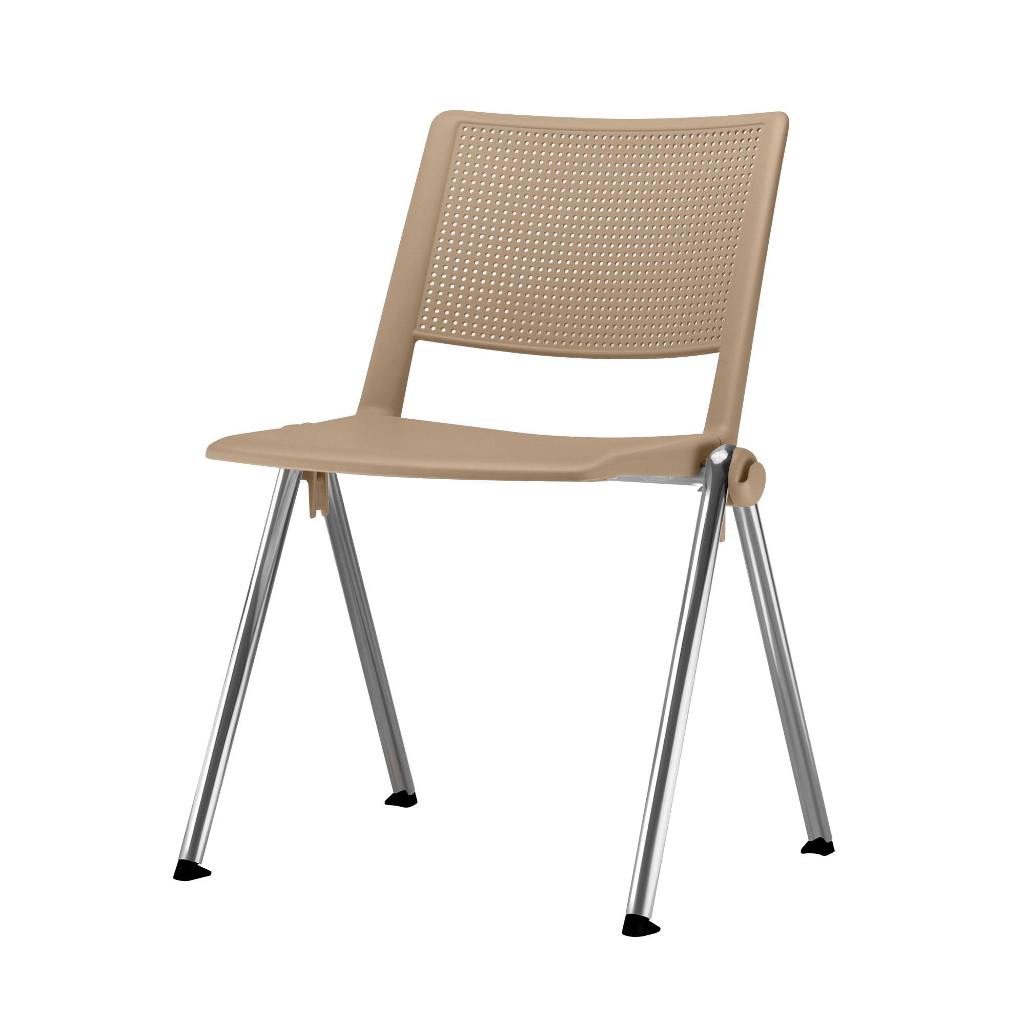 Kit 5 Cadeiras Up Assento Bege Base Fixa Cromada - 57808