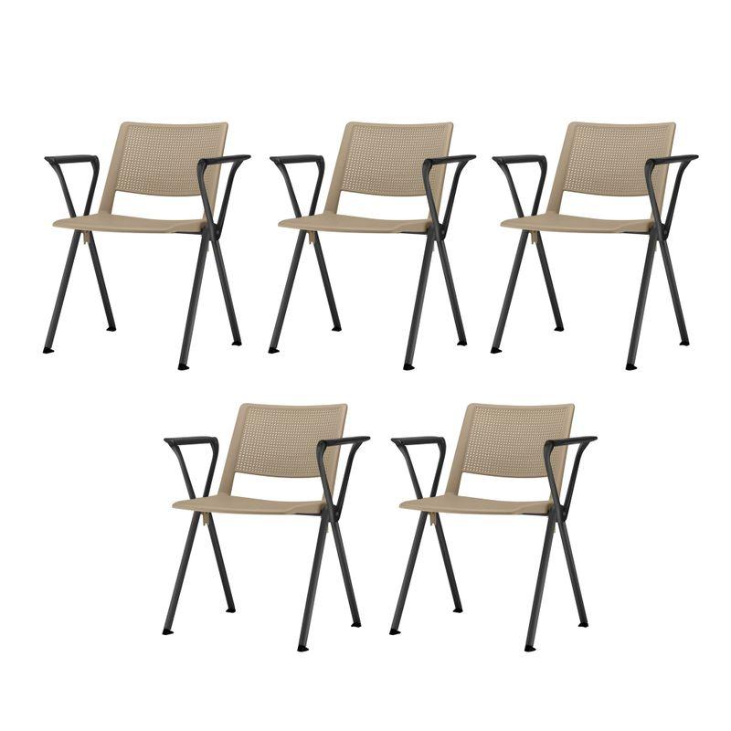 Kit-5-Cadeiras-Up-com-Bracos-Assento-Bege-Base-Fixa-Preta---57811