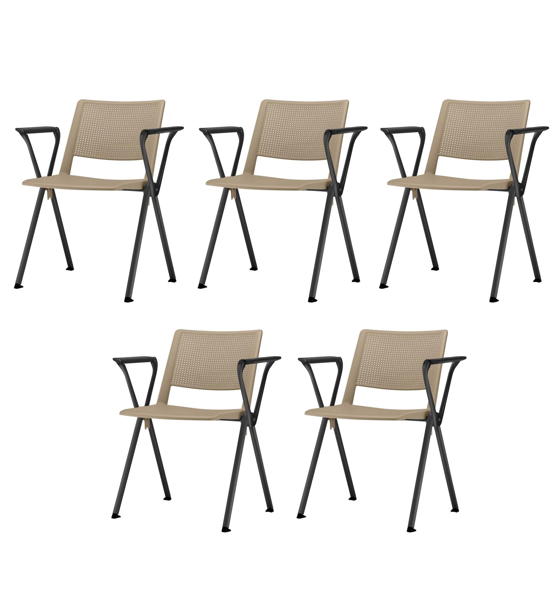 Kit 5 Cadeiras Up com Bracos Assento Bege Base Fixa Preta - 57811
