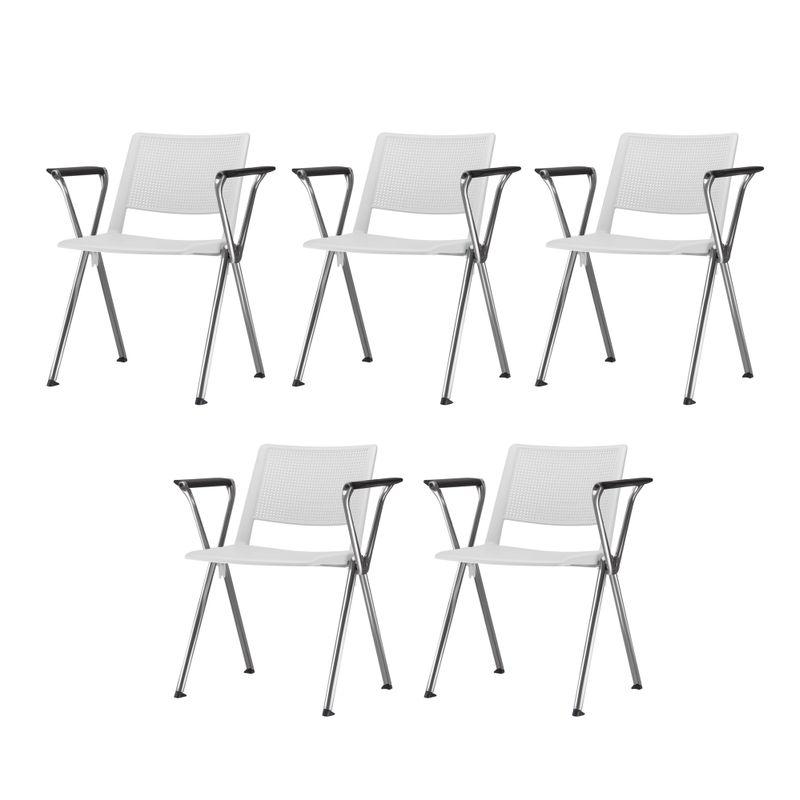 Kit-5-Cadeiras-Up-com-Bracos-Assento-Branco-Base-Fixa-Cromada---57815