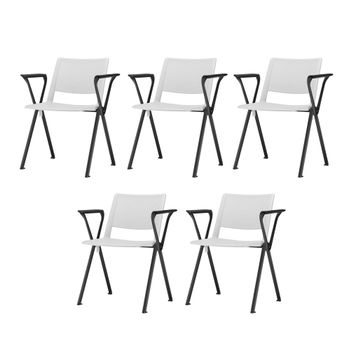 Kit-5-Cadeiras-Up-com-Bracos-Assento-Branco-Base-Fixa-Preta---57820
