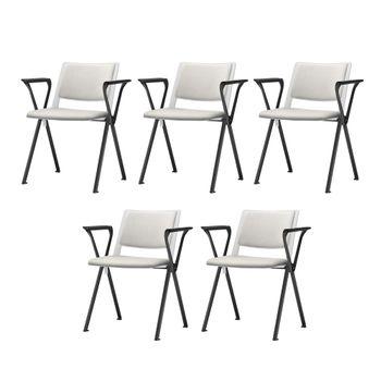 Kit-5-Cadeiras-Up-com-Bracos-Assento-Estofado-Branco-Base-Fixa-Preta---57821-