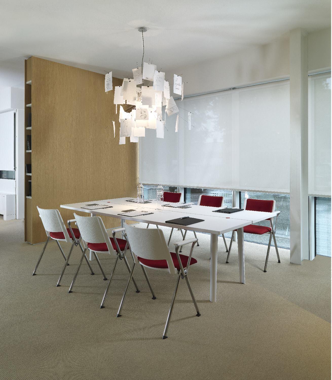 Kit 5 Cadeiras Up Assento Estofado Vermelho Base Fixa Preta - 57825