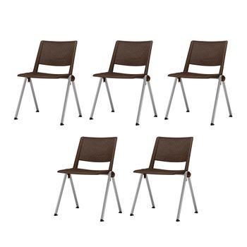 Kit-5-Cadeiras-Up-Assento-Marrom-Base-Fixa-Cinza---57826