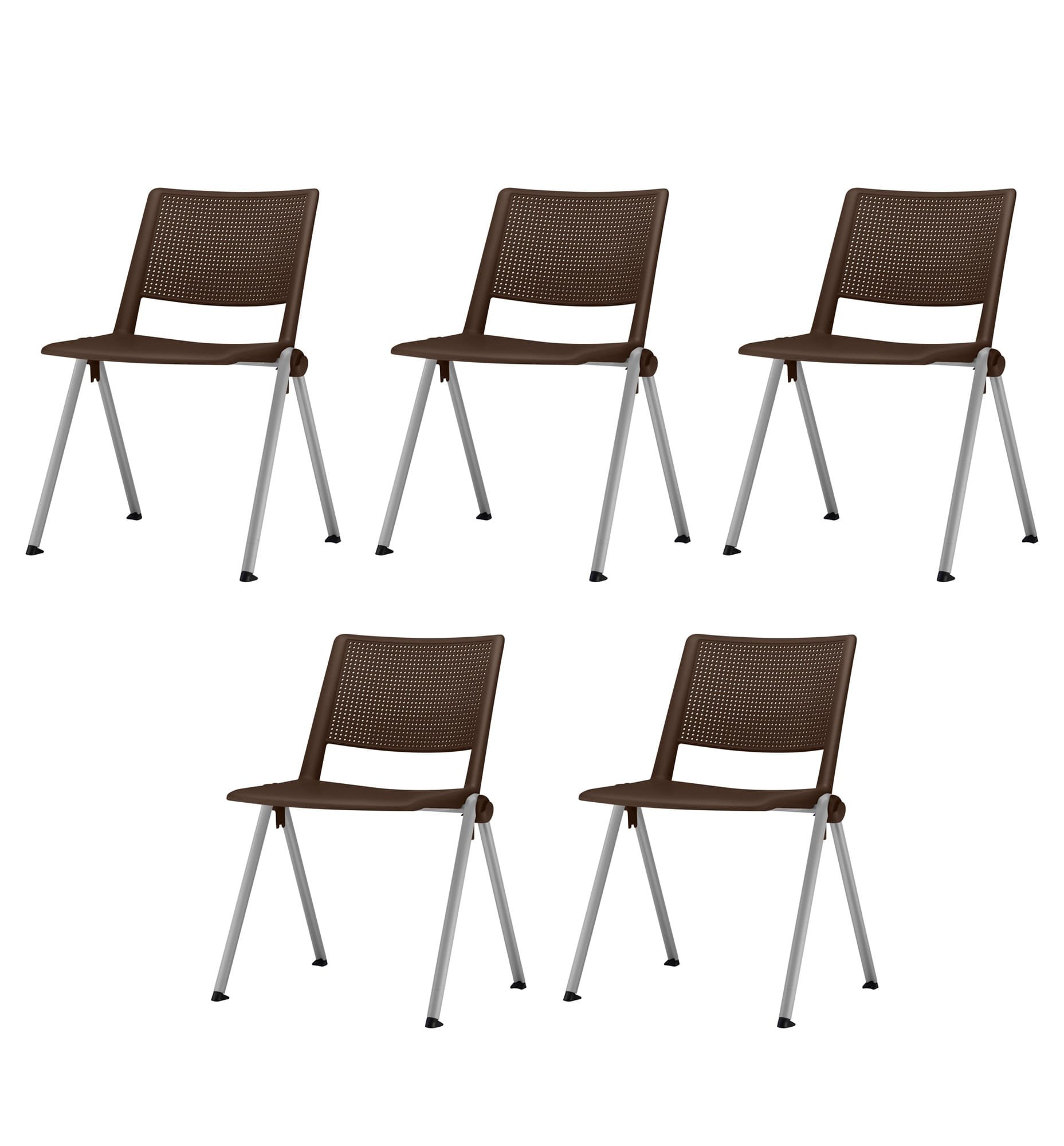 Kit 5 Cadeiras Up Assento Marrom Base Fixa Cinza - 57826
