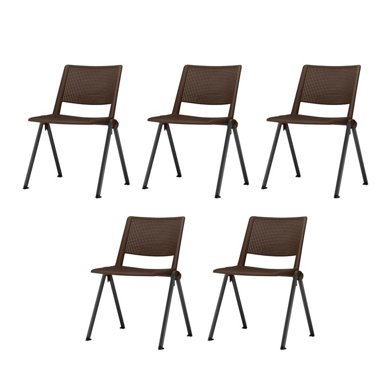 Kit-5-Cadeiras-Up-Assento-Marrom-Base-Fixa-Preta---57828-