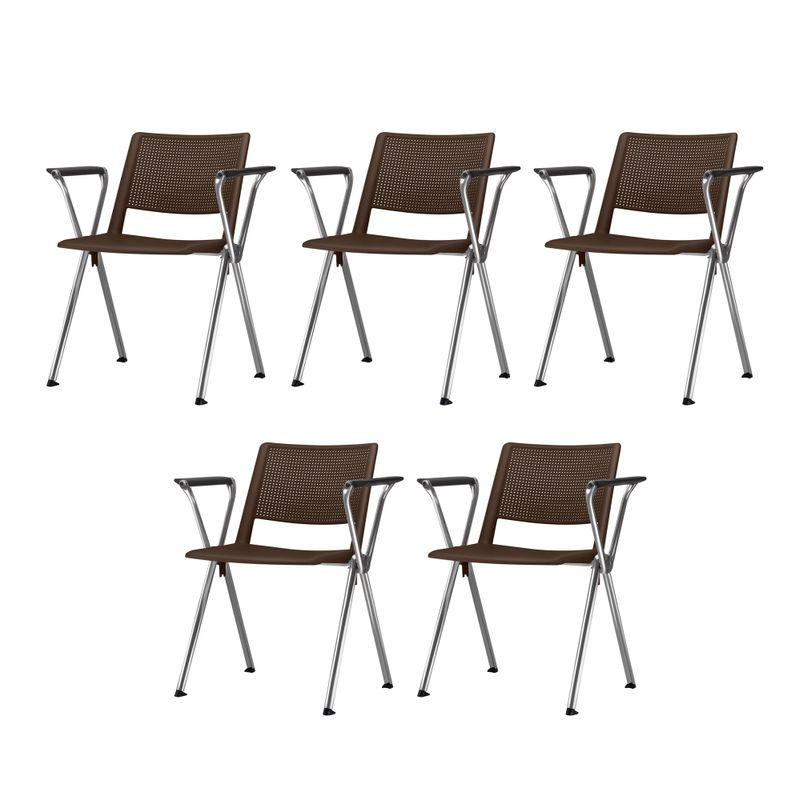 Kit-5-Cadeiras-Up-com-Bracos-Assento-Marrom-Base-Fixa-Cromada---57829