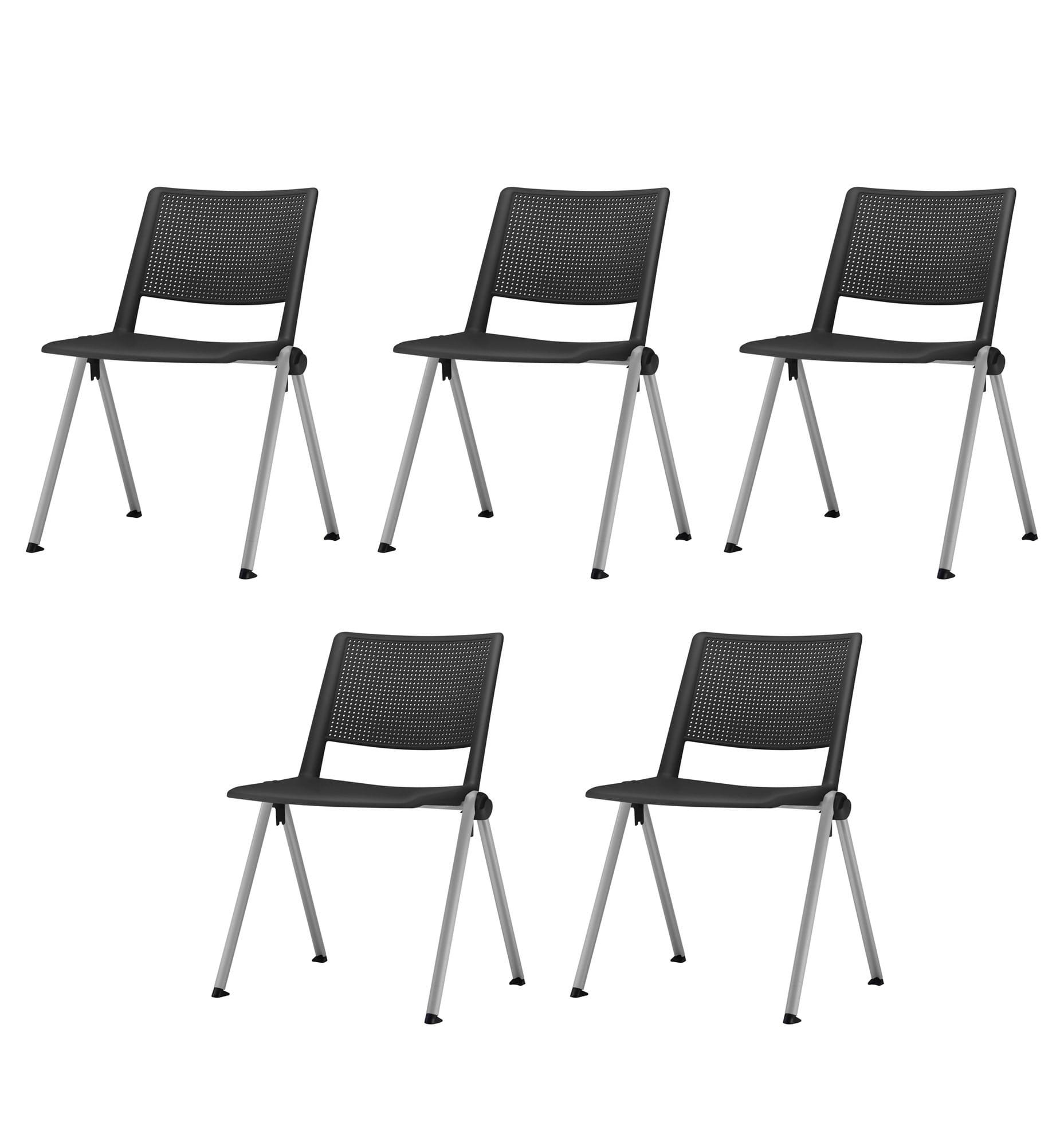 Kit 5 Cadeiras Up Assento Preto Base Fixa Cinza - 57831