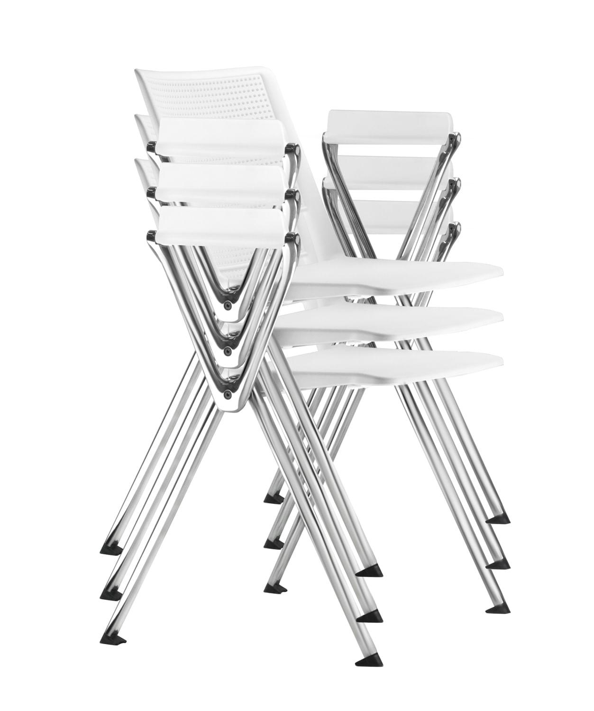 Kit 5 Cadeiras Up Assento Preto Base Fixa Cromada - 57832