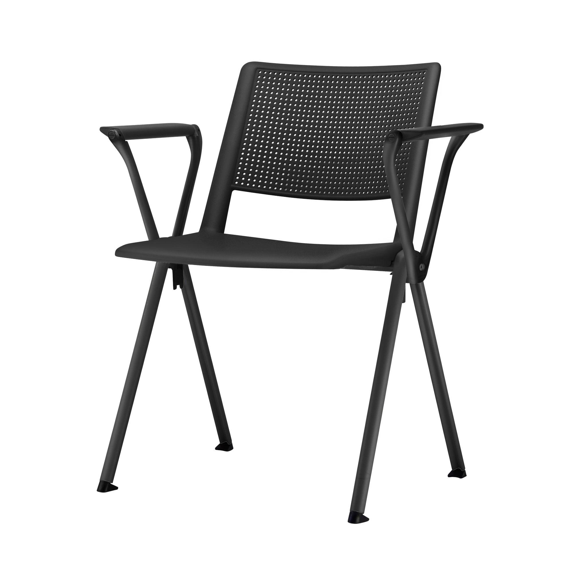 Kit 5 Cadeiras Up com Bracos Base Fixa Preta - 57835
