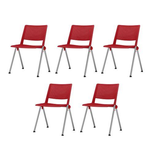 Kit-5-Cadeiras-Up-Assento-Vermelho-Base-Fixa-Cinza---57836