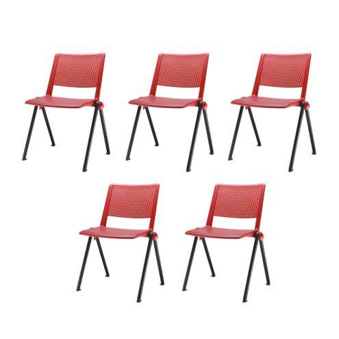 Kit-5-Cadeiras-Up-Assento-Vermelho-Base-Fixa-Preta---57838