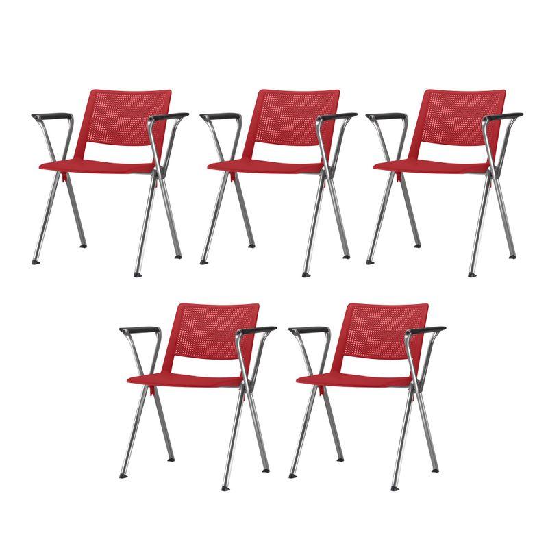 Kit-5-Cadeiras-Up-com-Bracos-Assento-Vermelho-Base-Fixa-Cromada---57839