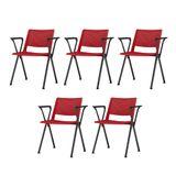 Kit-5-Cadeiras-Up-com-Bracos-Assento-Vermelho-Base-Fixa-Preta---57840-