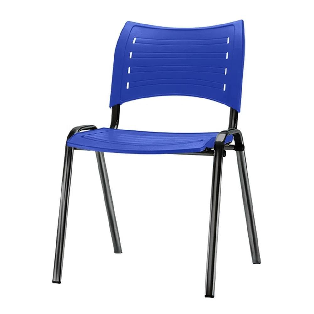 Kit 5 Cadeiras Iso Assento Azul Base Preta - 57928
