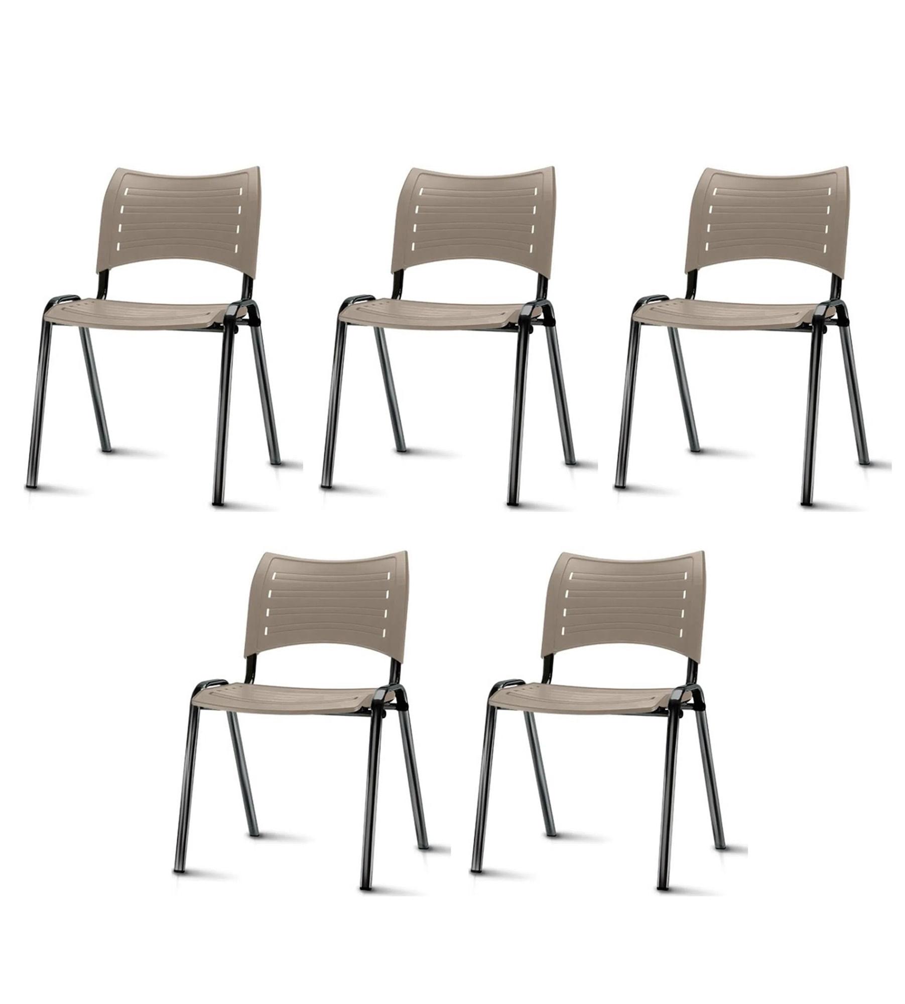 Kit 5 Cadeiras Iso Assento Bege Base Preta - 57929