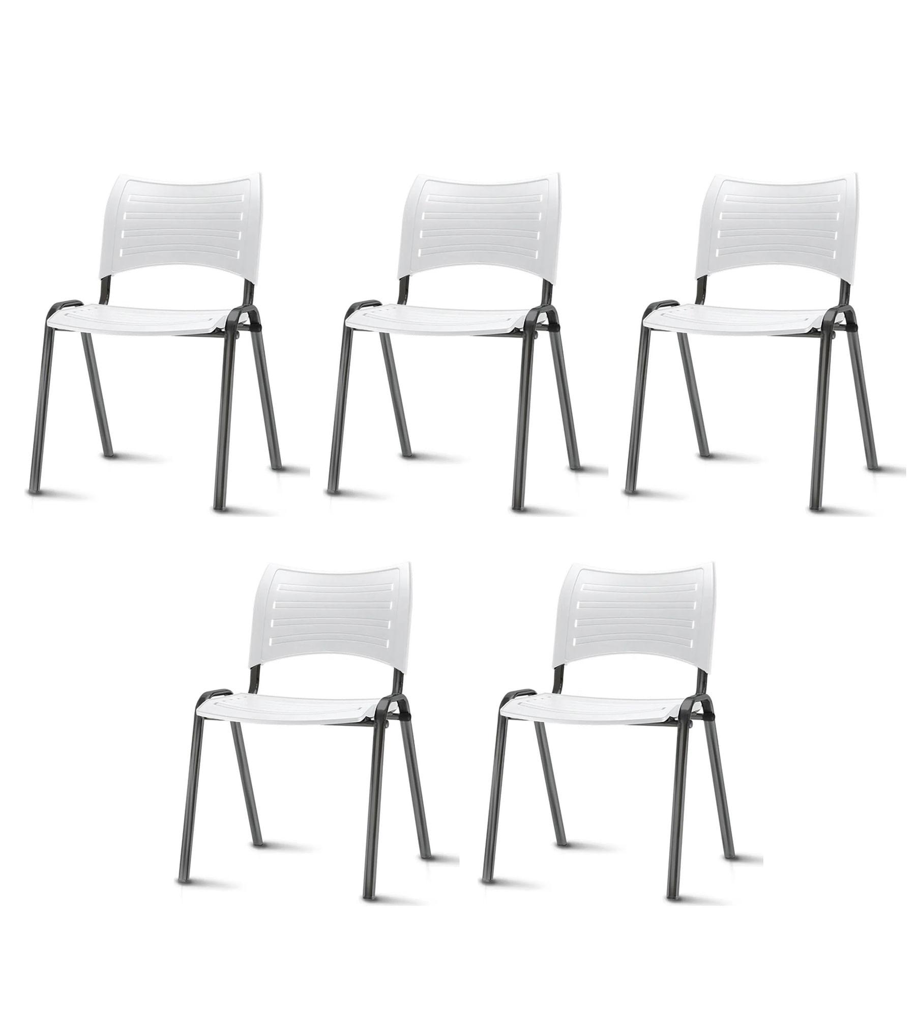 Kit 5 Cadeiras Iso Assento Branco Base Preta - 57930