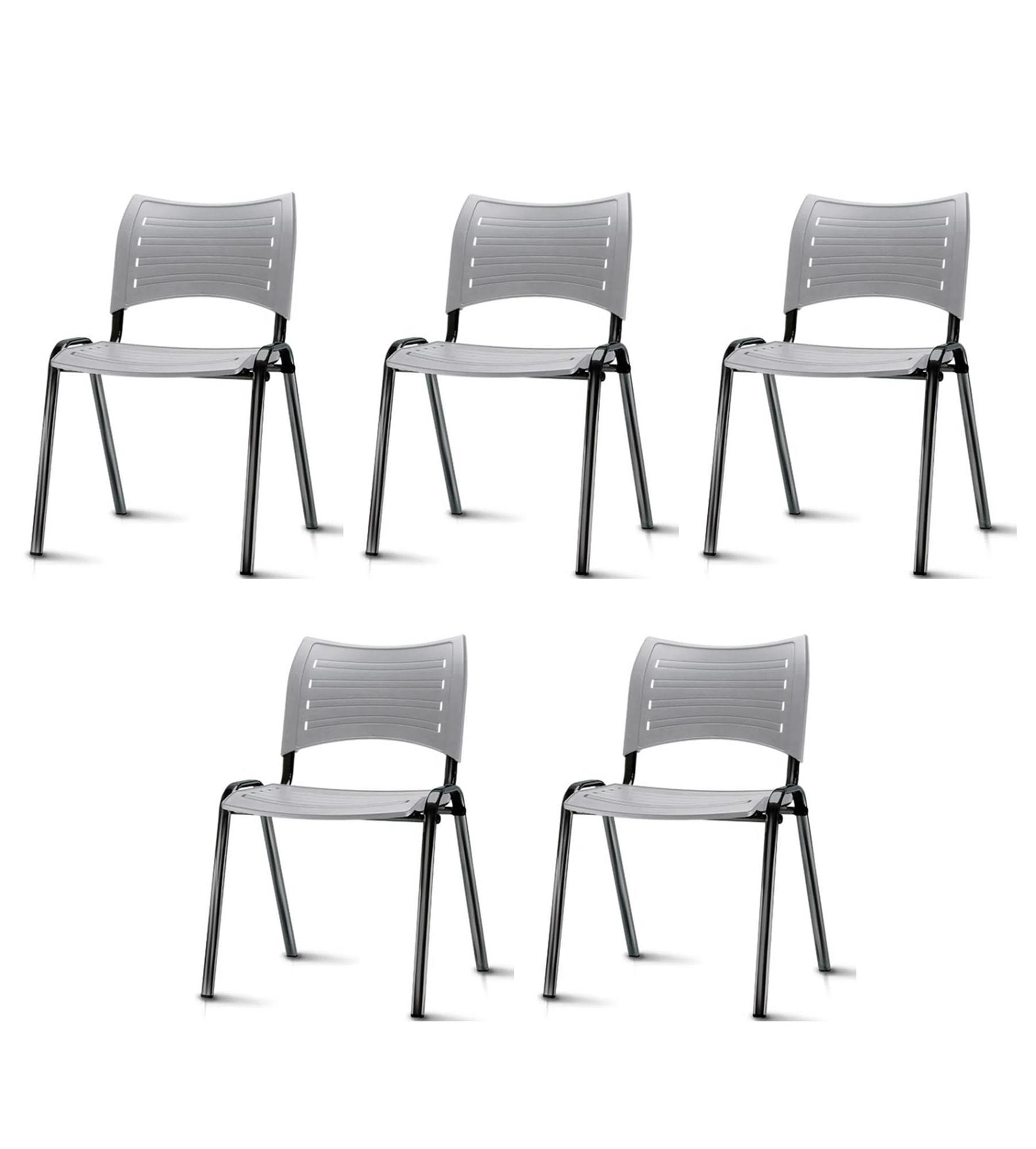 Kit 5 Cadeiras Iso Assento Cinza Base Preta - 57931