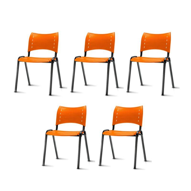 Kit-5-Cadeiras-Iso-Assento-Laranja-Base-Preta---57932