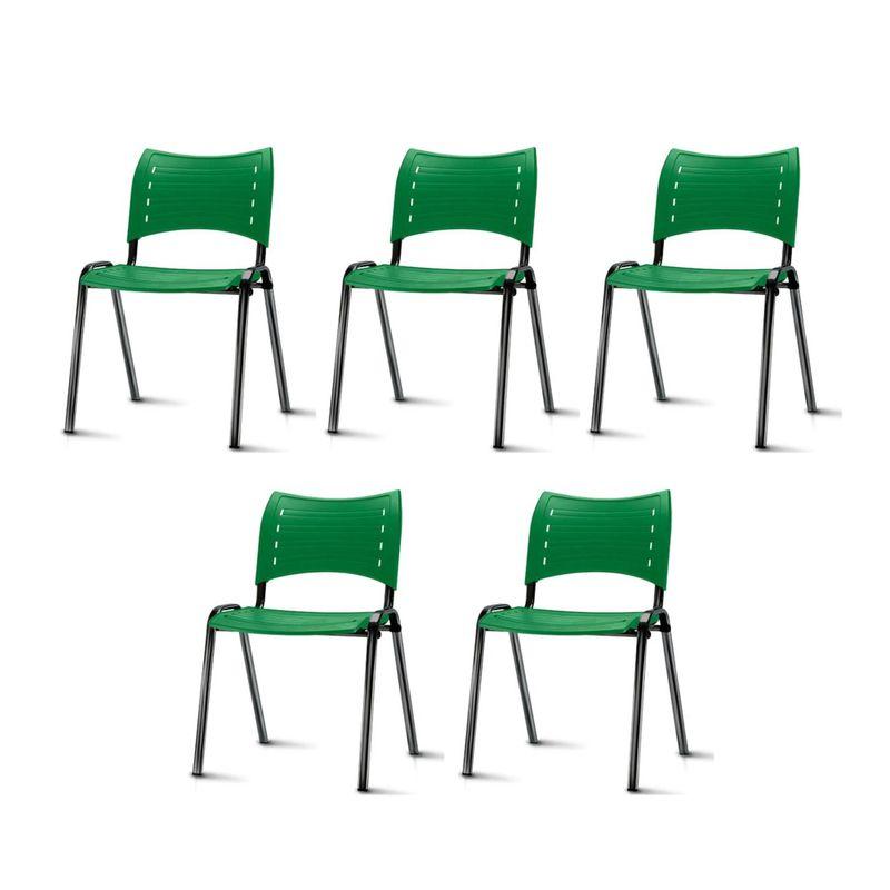 Kit-5-Cadeiras-Iso-Assento-Verde-Base-Preta---57935