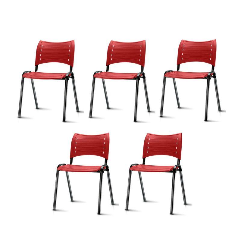 Kit-5-Cadeiras-Iso-Assento-Vermelho-Base-Preta---57936
