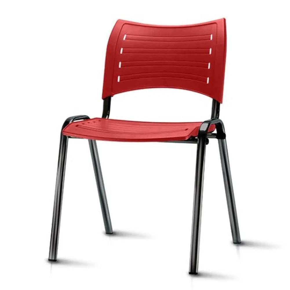 Kit 5 Cadeiras Iso Assento Vermelho Base Preta - 57936