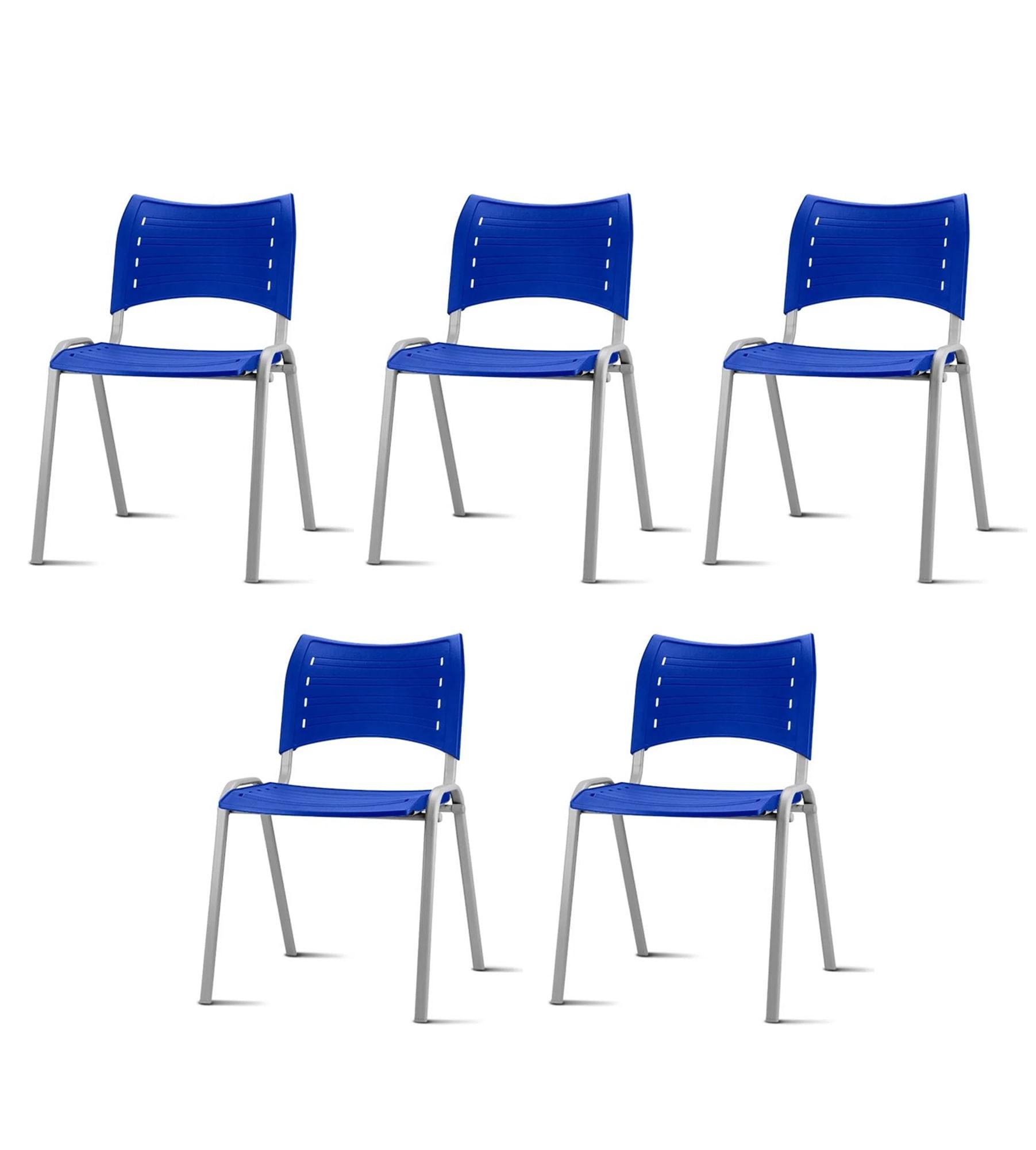 Kit 5 Cadeiras Iso Assento Azul Base Cinza - 57937