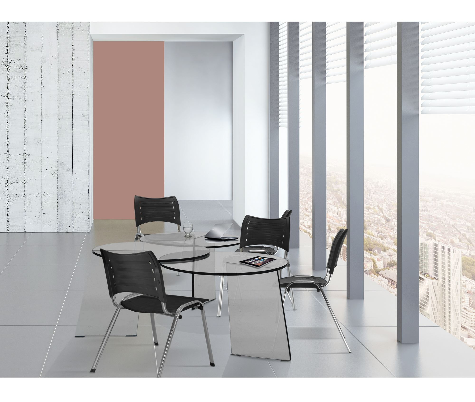 Kit 5 Cadeiras Iso Assento Branco Base Cromada - 57939