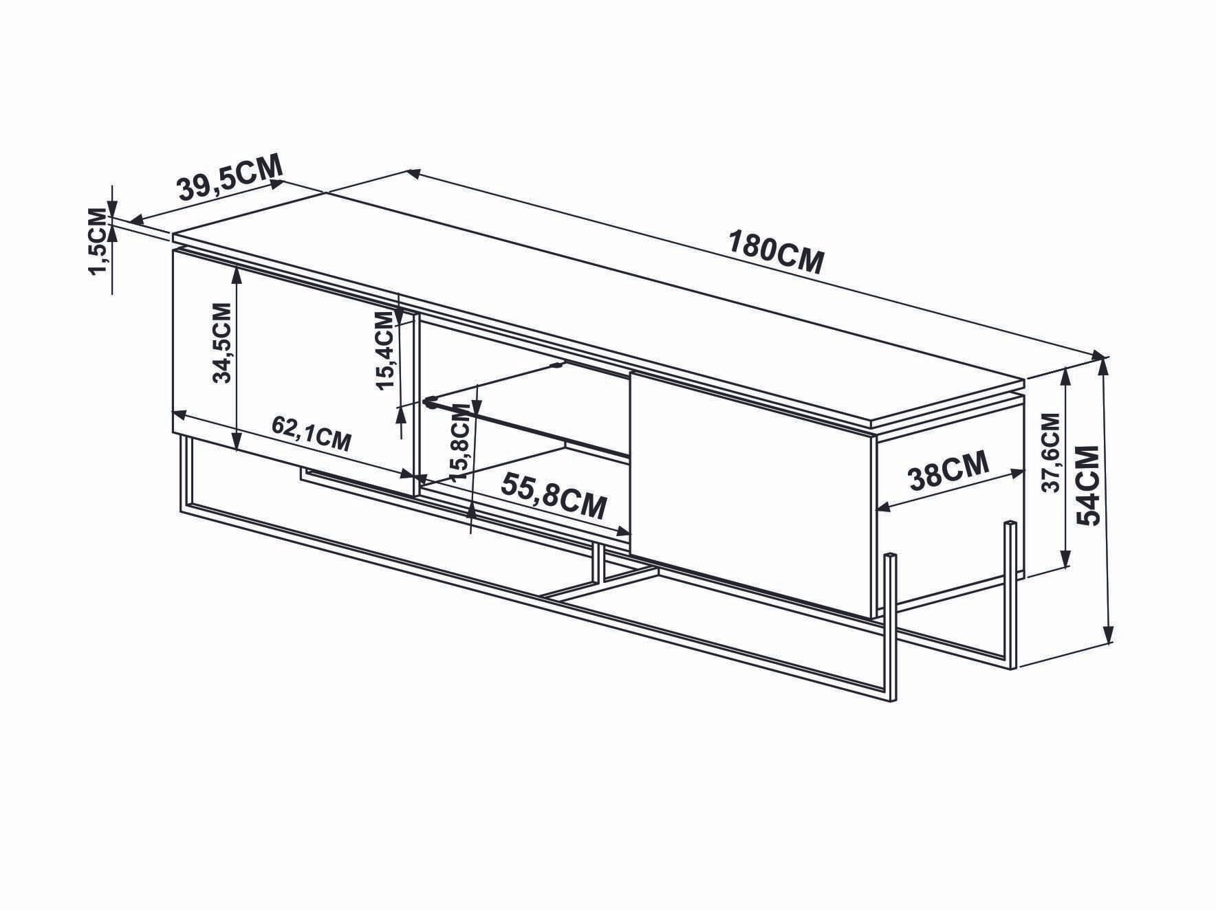 Rack Dock 1,80 MT (LARG) cor Thassos com Branco Base Cobre - 58080