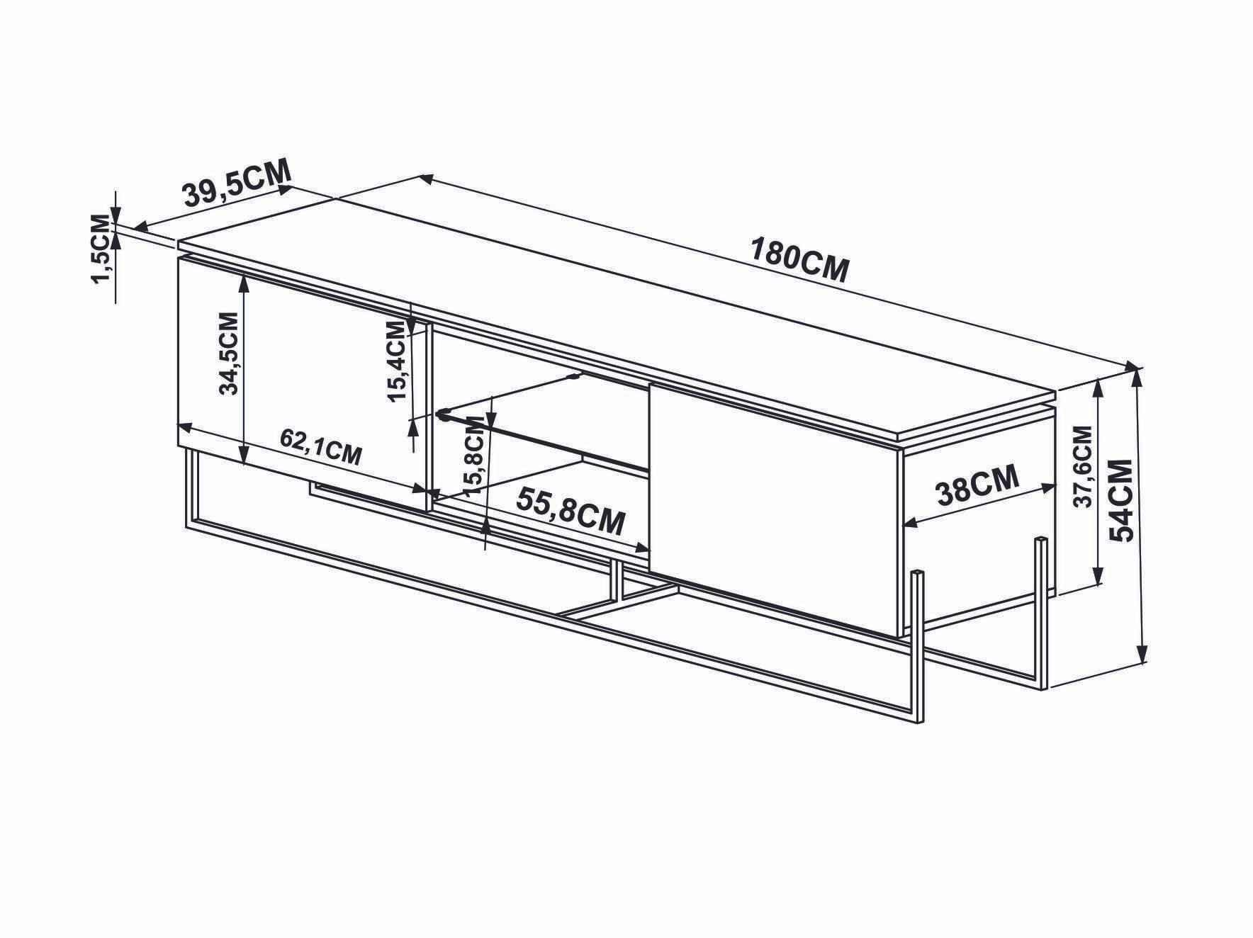 Rack Dock 1,80 MT (LARG) cor Marquina com Preto Base Cobre - 58082