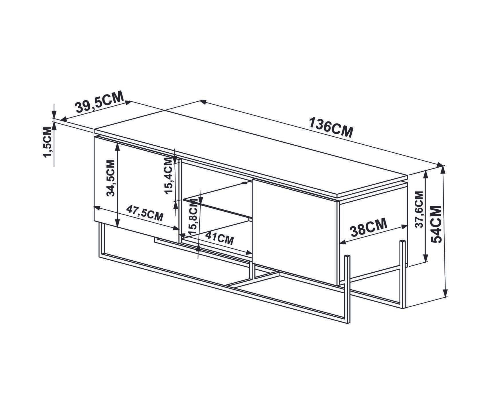 Rack Dock 1,36 MT (LARG) cor Thassos com Branco Base Cobre - 58065