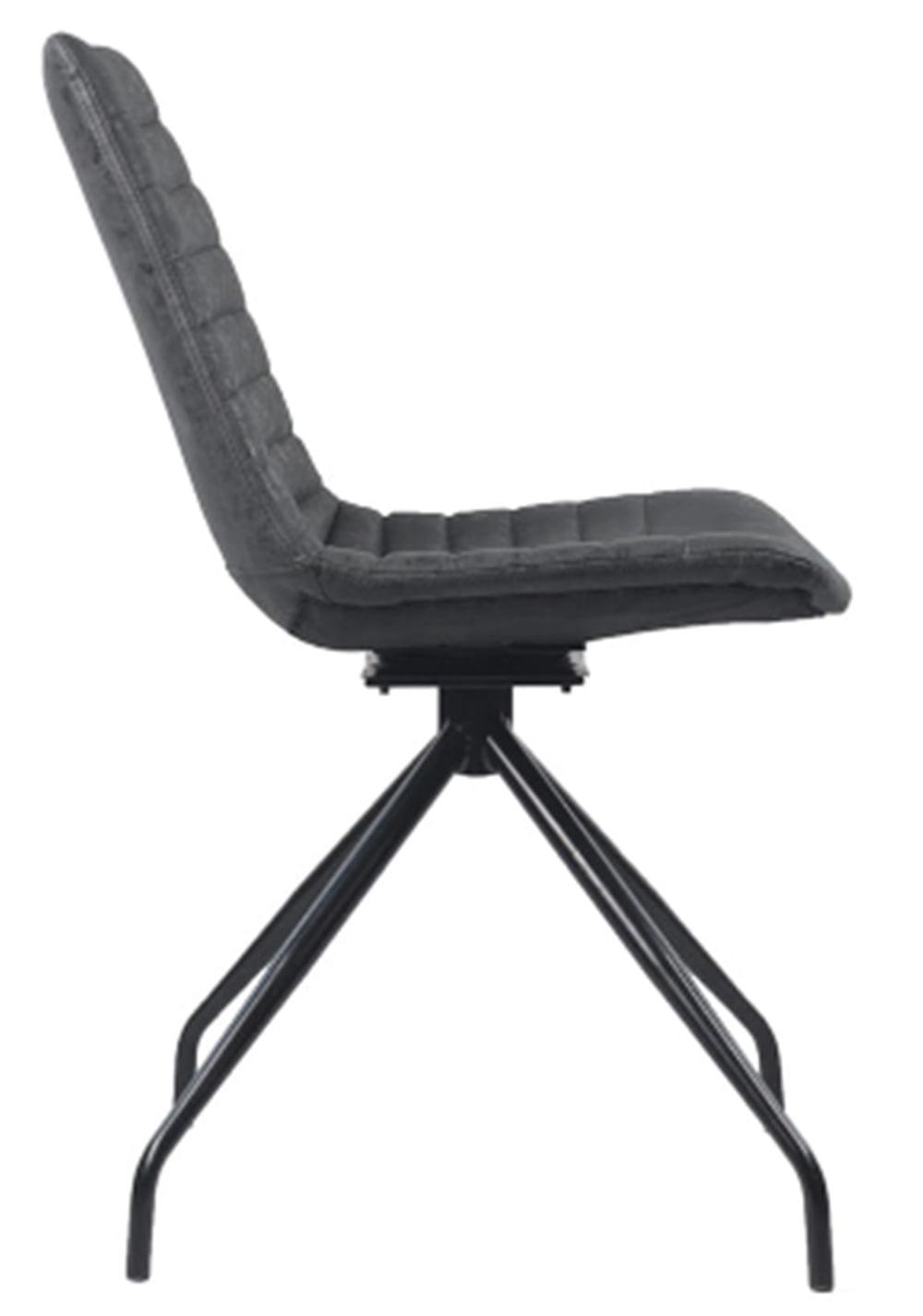 Cadeira Dini Corino Preta com Base Giratoria Preta - 58176
