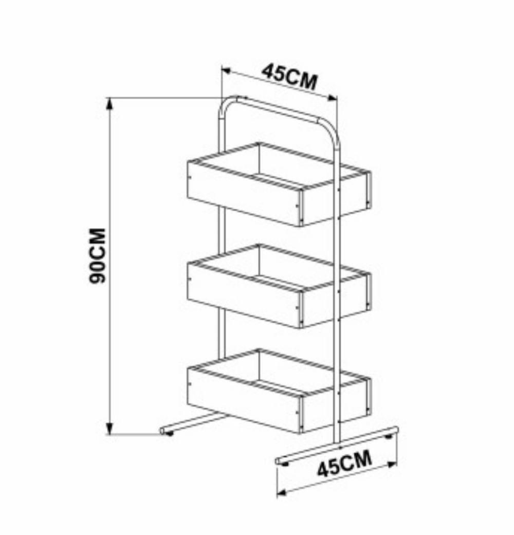 Estante Kea com Caixas Cor Vermont c/ Estrutura Preta 90cm (Alt) - 57074