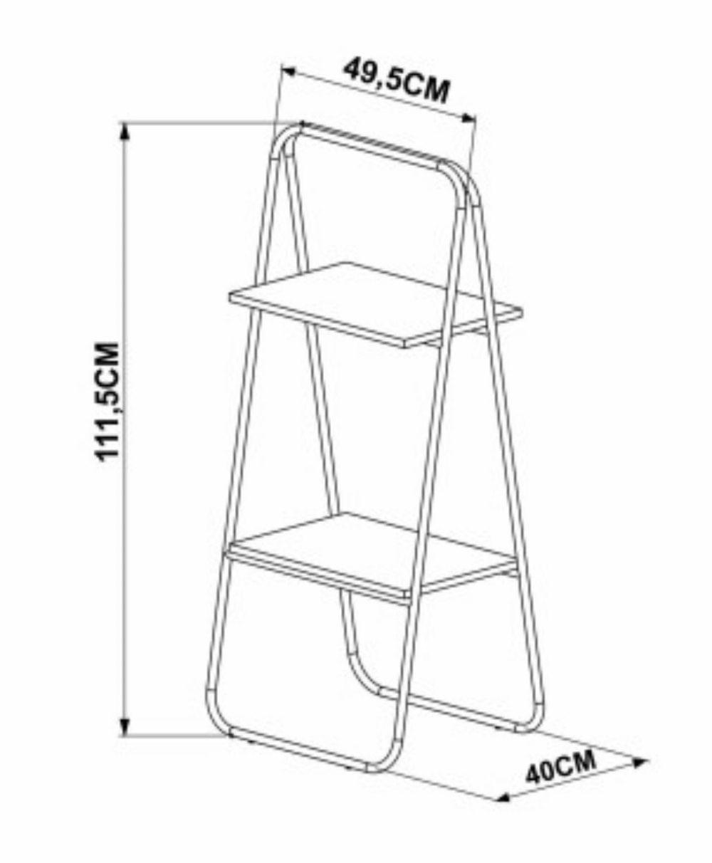 Estante Kea com Prateleiras Cor Vermont c/ Estrutura Preta 1,12m (Alt) - 57312